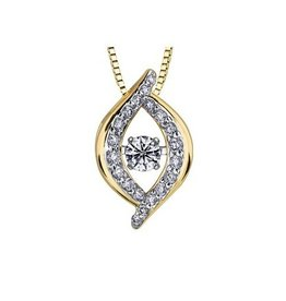 Yellow & White Gold (0.20ct) Dancing Diamond Pendant