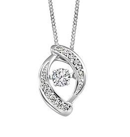 White Gold (0.10ct) Dancing Canadian Diamond Pendant