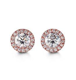 Halo CZ Rose Gold Earrings