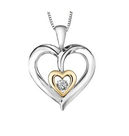 Sterling Silver & Yellow Gold (0.02ct) Dancing Diamond Pendant