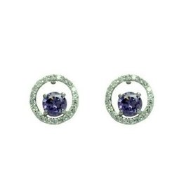 Purple & Clear CZ Circle