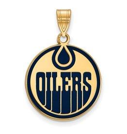 Edmonton Oilers Sterling Silver GP Pendant (18mm)