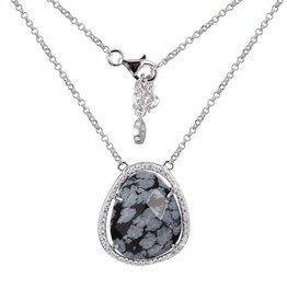 Elle Genuine Snowflake Obsidian Halo Sterling Silver Necklace