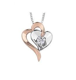 White & Rose Gold (0.10ct) Canadian Diamond Heart Pendant