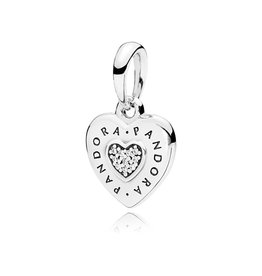 Pandora 397376CZ - PANDORA Signature Heart Pendant, Clear CZ