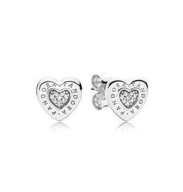 Pandora 297382CZ - PANDORA Signature Heart Stud Earrings, Clear CZ