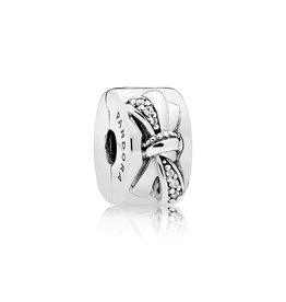 Pandora 797304CZ - Shiny Bow Clip, Clear CZ