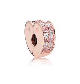 Pandora 787020NPM - Arcs of Love Clip, PANDORA Rose™, Light Pink & Rose Pink Crystals & Clear CZ