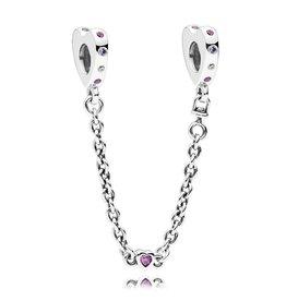 Pandora 797245NRPMX - Bright Hearts Safety Chain, Pink Crystals