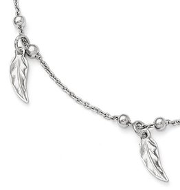 "Polished and Textured Feather Anklet (9-10"")"