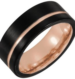Tungsten 6mm Grooved Band with Black PVD & Rose Gold Plating