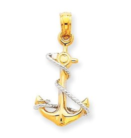 14k Two-Tone Anchor With Rope Pendant