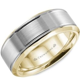 Bevelled (7mm) White and Yellow Gold Band