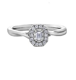 White Gold Diamond Emerald Shaped Halo Ring (0.20ct)