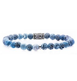 Inox Stainless Steel, Crack Agate Beaded Stretch Bracelet