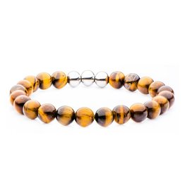 Inox Stainless Steel, Tiger Eye Beaded Stretch Bracelet