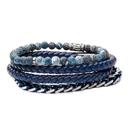 Inox Blue Bead, Blue Multi Leather and Chain Stackable Bracelets