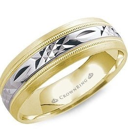 14K Yellow and White Gold Laser Cut Band (7mm)Yellow and White Gold Laser Cut Band (6mm)