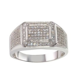 Men's Sterling Silver Rhodium Plated Micropavee CZ Ring