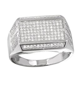 Men's Sterling Silver Rectangular Rhodium Plated Micropavee CZ Ring