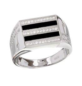 Sterling Silver 2 Toned Rhodium Plated Black Enamel CZ Men's Ring