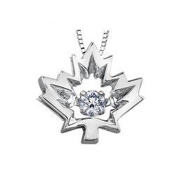 I am Canadian White Gold (0.04ct) Maple Leaf Canadian Dancing Diamond Pendant