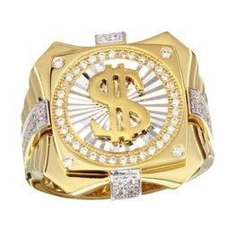 Sterling Silver Two Tone Dollar Sign CZ Ring