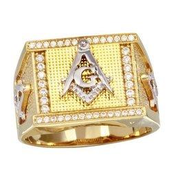 Sterling Silver Two Tone Masonic Symbol CZ Ring