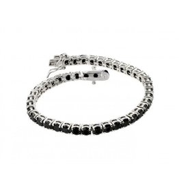 Sterling Silver 925 Rhodium Plated Black Onyx Bracelet