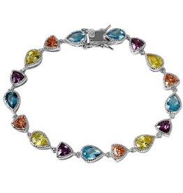Sterling Silver Multi Shape/Colour CZ Tennis Bracelet