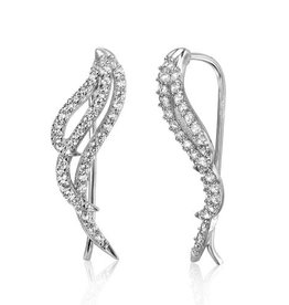 Sterling Silver 925 Rhodium Plated Wings Earrings with Cubic Zirconia Stones