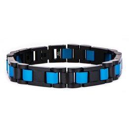 Inox Stainless Steel Black IP and Blue IP Link Bracelet