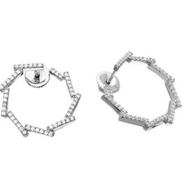 Sterling Silver 925 Rhodium Plated Open Circle CZ Bar Earrings
