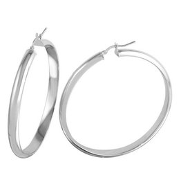 Sterling Silver Rounded Hoop Earrings (50mm)