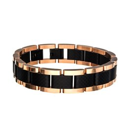 Inox Black and Rose Gold with Carbon Fiber Bracelet