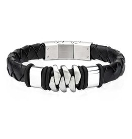 Inox Men's Stainless Steel with Matte Black Leather Bohemian Bracelet