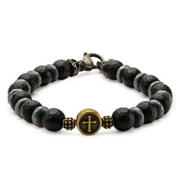 Inox Men's Black Beads in Cross and Skull Bracelet with Lobster Clasp