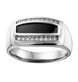 Onyx & Diamonds (0.20ct) White Gold