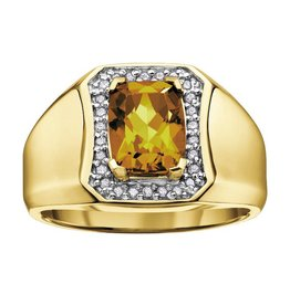 Yellow Quartz & Diamonds Yellow Gold
