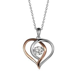 Sterling Silver Two Tone Dancing CZ Pendant