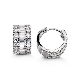 Sterling SIlver Round and Princess CZ Huggies (15mm)