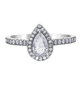 Pear Shaped (0.80ct) Halo Canadian Diamond Ring