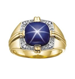 Syn Star Sapphire & Diamonds Yellow Gold