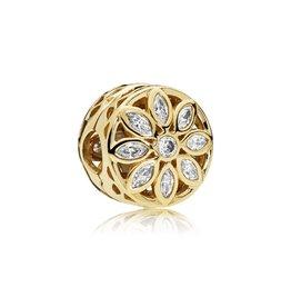 Pandora 757639CZ - Opulent Flower Charm, 14K Gold & Clear CZ