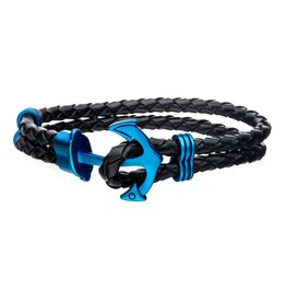 Inox Black Leather with Blue Plated Anchor Bracelet