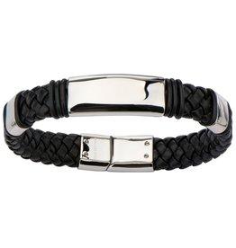 Inox Stainless Steel Black leather Bracelet