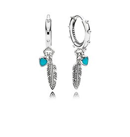 Pandora 297205EN168 - Spiritual Feathers Dangle Earrings, Turquoise Enamel