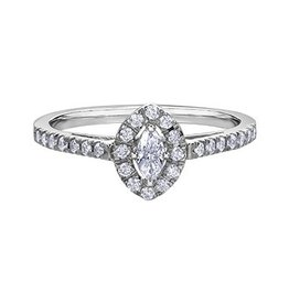 Marquise Shaped (0.35ct) Halo White Gold Diamond Ring