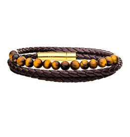 Inox Double Wrap Brown Leather with Tiger Eye Beads Bracelet