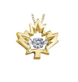 I am Canadian Yellow Gold (0.04ct) Maple Leaf Canadian Dancing Diamond Pendant